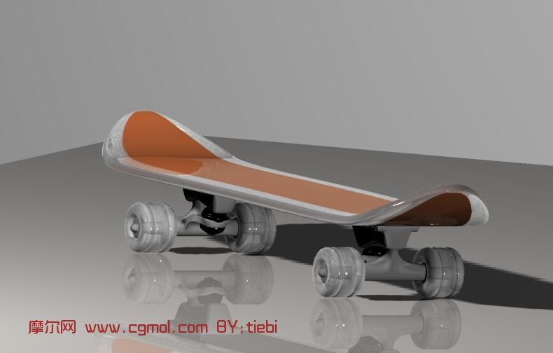 四轮滑板max3d模型
