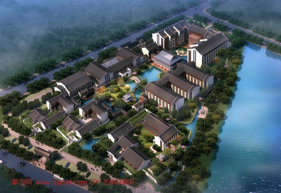 原創作品: 中式古建酒店鳥瞰,中式別墅群場景3d模型