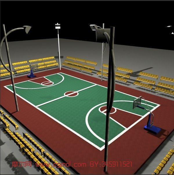 篮球场,室外场景maya3d模型