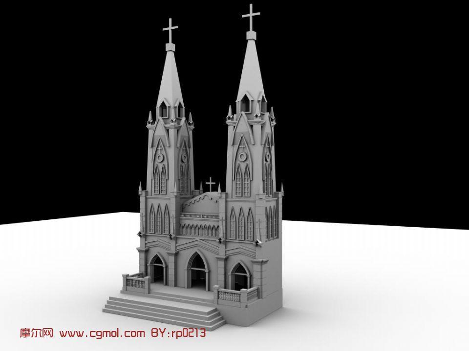 教堂,建筑,室外场景maya3d模型
