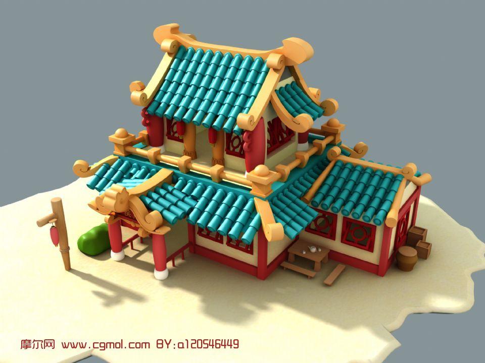 建筑,楼,古代场景maya3d模型