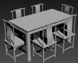 中式餐桌,桌子,桌椅3D模型