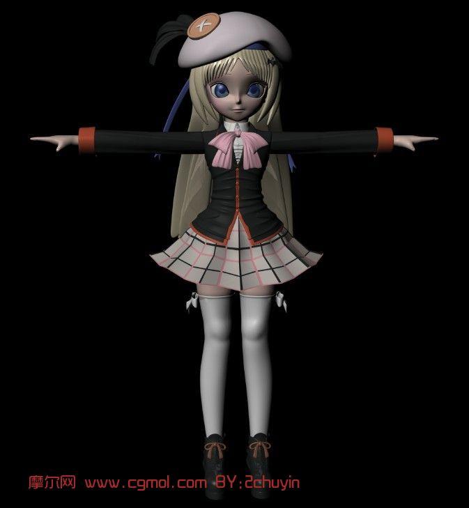 萝莉,美少女,女孩,卡通人物maya3d模型