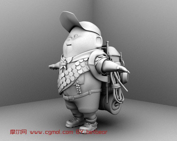 罗素,飞屋环游记小胖子,男孩,动画人物maya3d模型