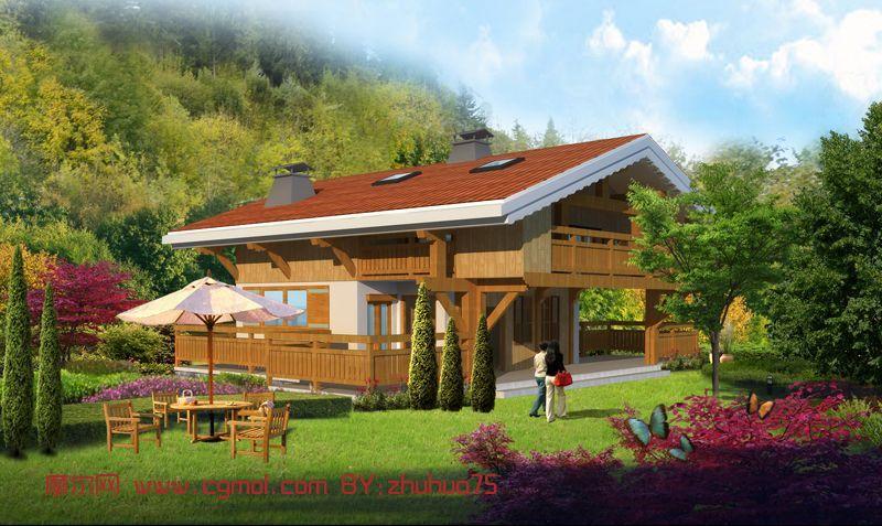 建筑模型 中式建筑  关键词:别墅建筑乡间木结构 作品描述: 作者其他