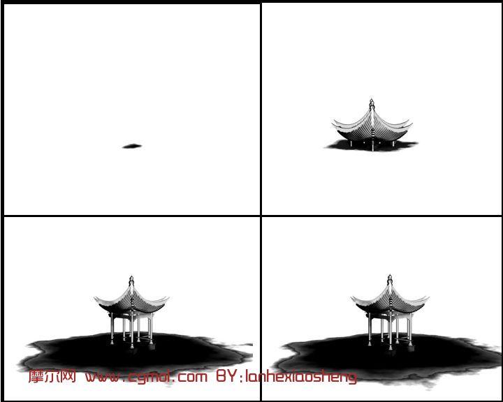 水墨亭子,建筑,室外场景max3d模型