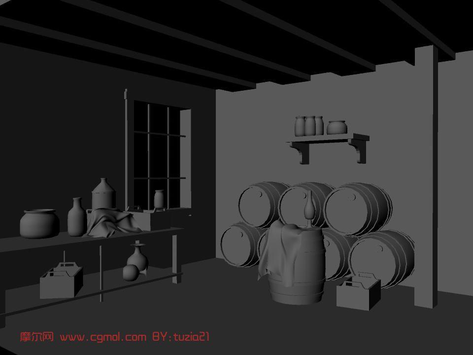 库房,仓库,小木屋,室内场景maya3d模型