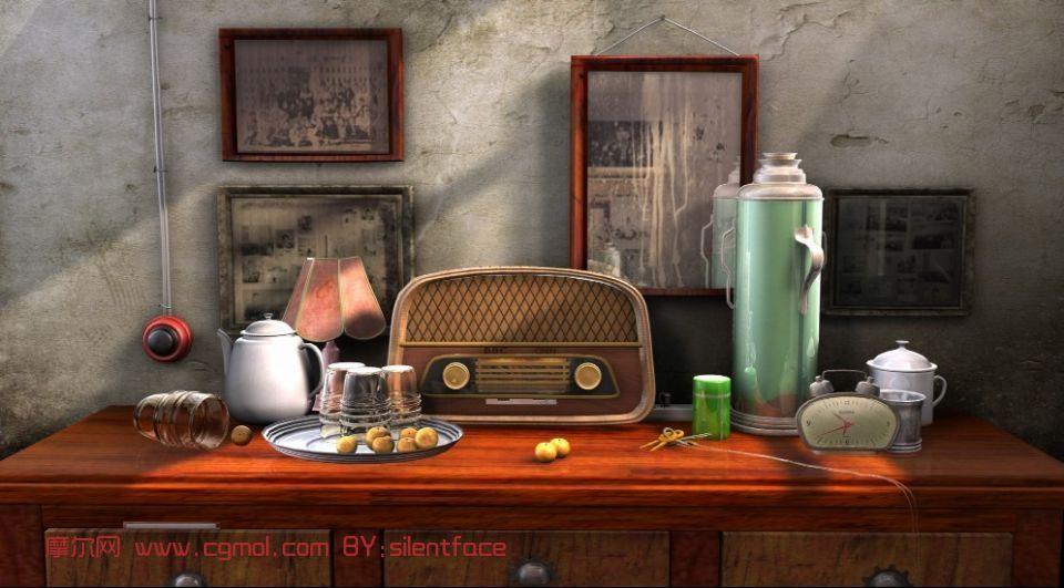 热水瓶,老式收音机,室内小场景maya3d模型,自 高清图片