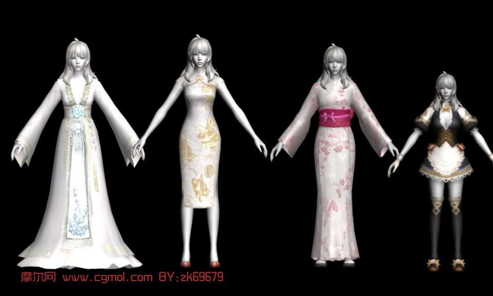 永恒之塔女士服装,人物道具max3d模型