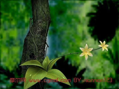 植物花间蝴蝶纷飞场景3D模型
