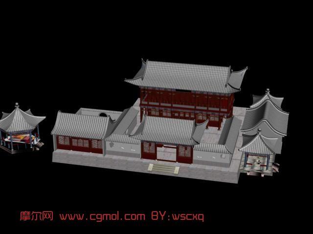 客栈,古代建筑,室外场景max3d模型
