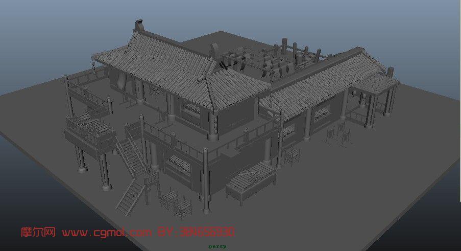 古代建筑,室外场景maya3d模型 高清图片