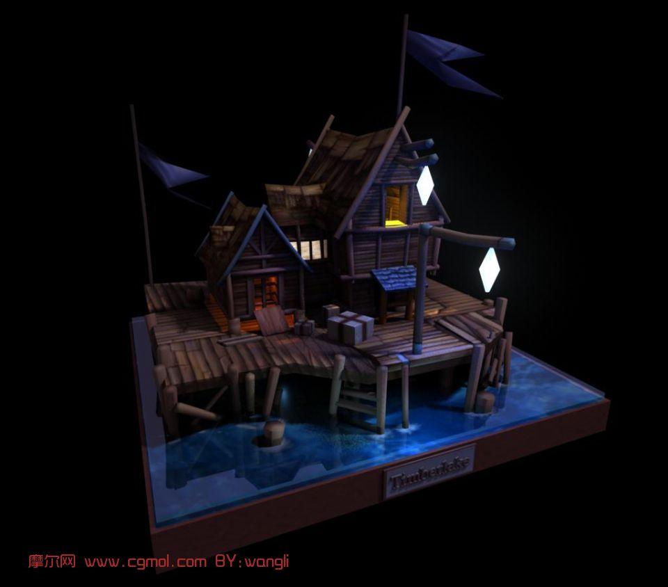 场景,木房子,海边房子,建筑,室外别墅maya3d模汉代别墅图片