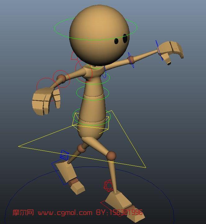 木头人,小人偶跑步,角色动画maya3d模型 基础人体 动画角色