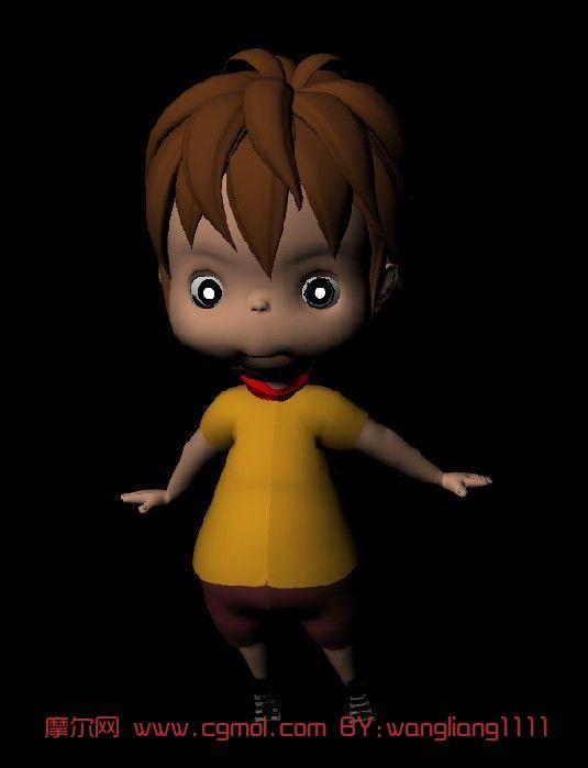 小男孩 卡通人物maya3d模型 高清图片