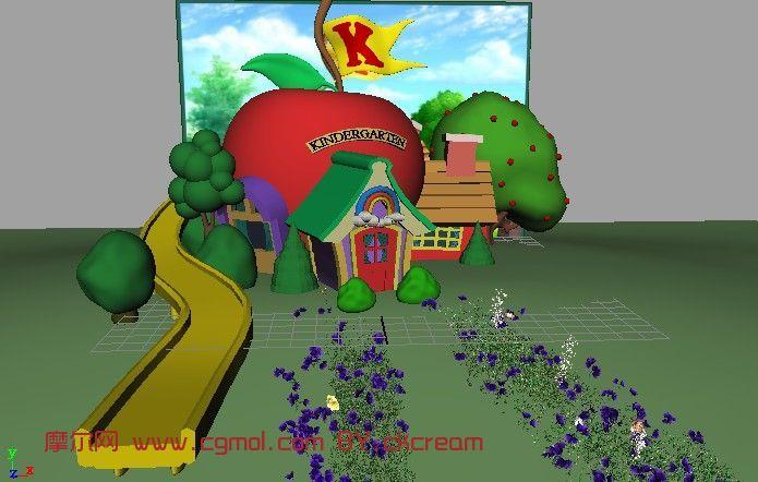 幼儿园,卡通房屋,q版场景