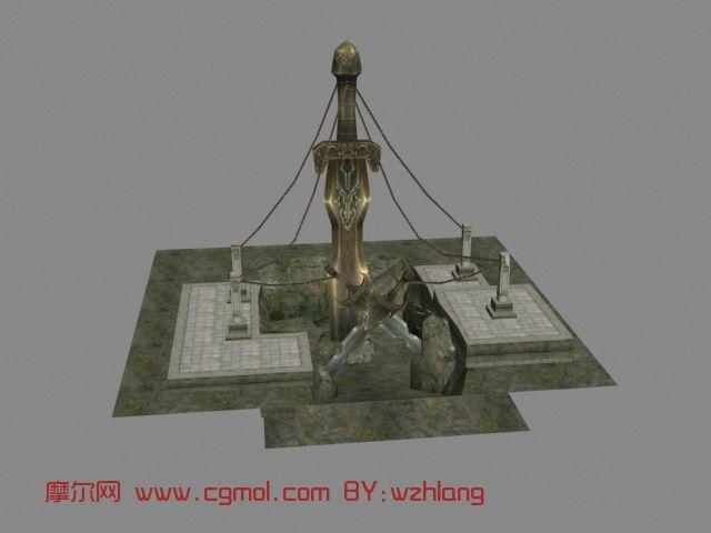 剑冢,建筑,游戏场景max3d模型