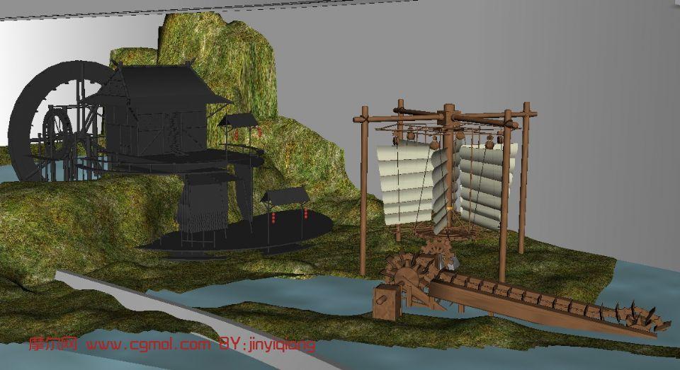 古代风车提水灌田,小屋,建筑,室外场景maya3d模型