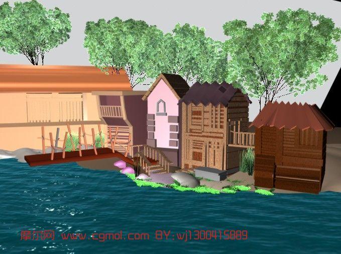 农户小屋,自然场景maya3D模型