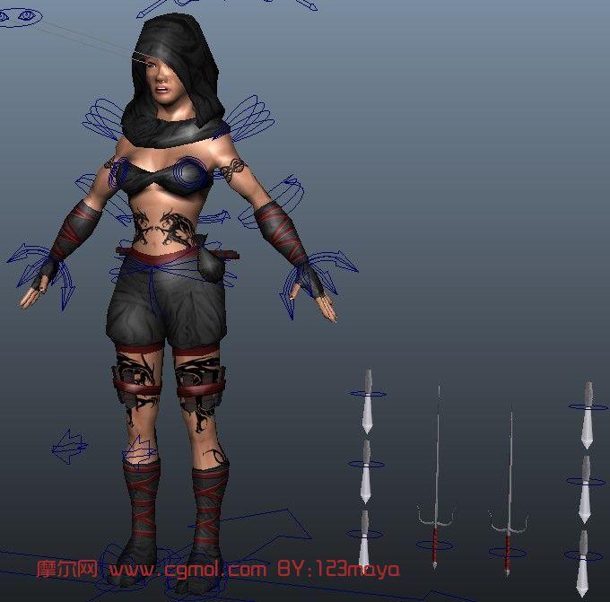 双叉兵器角色 游戏人物maya模型 高清图片