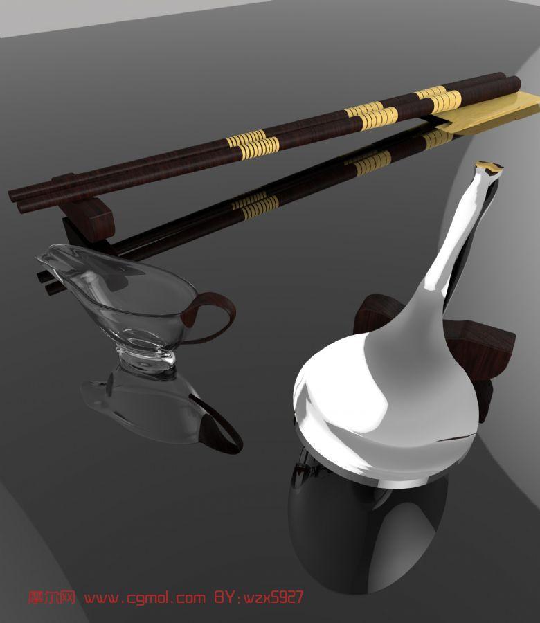 筷子,勺子,杯子,餐具3d模型