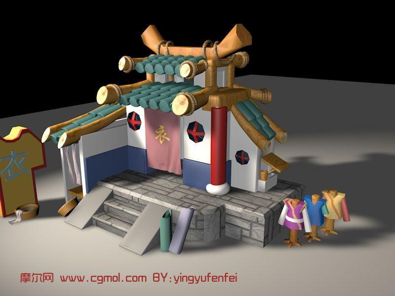 服装店,衣店,游戏建筑场景c4d模型