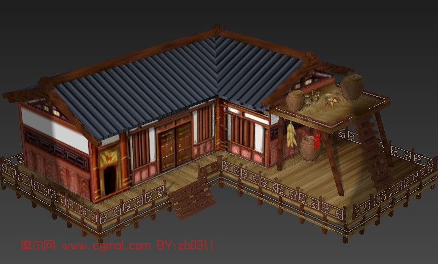 居民房屋,古代房子,建筑,室外场景max3d模型_古代场景_场景模型_3d