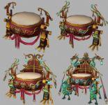 四个等级的战鼓,游戏道具max3d模型