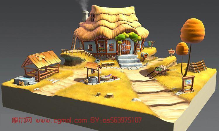 房子,卡通建筑,室外场景max3d模型