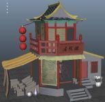 茶楼,酒楼,杂货摊,古建筑,室外场景maya3d模型