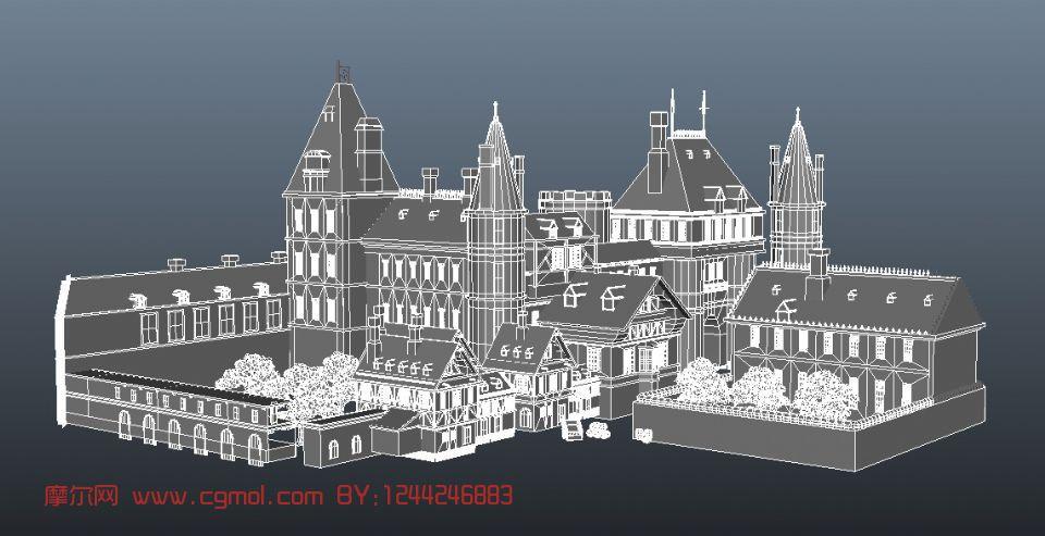 室外场景,城堡,建筑maya3d模型