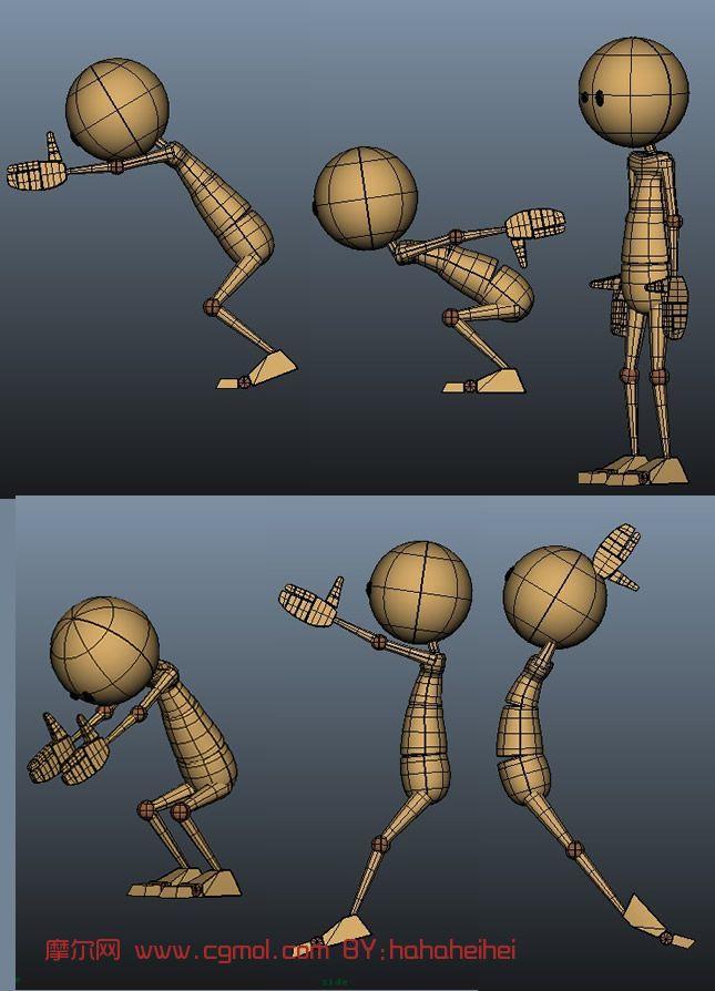 卡通人物跳跃分解图 跳跃动作分解图_卡通人物跑步