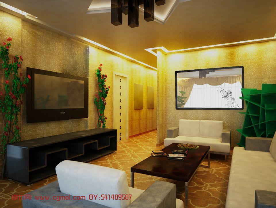 绿色生态风格客厅,室内场景max3d模型