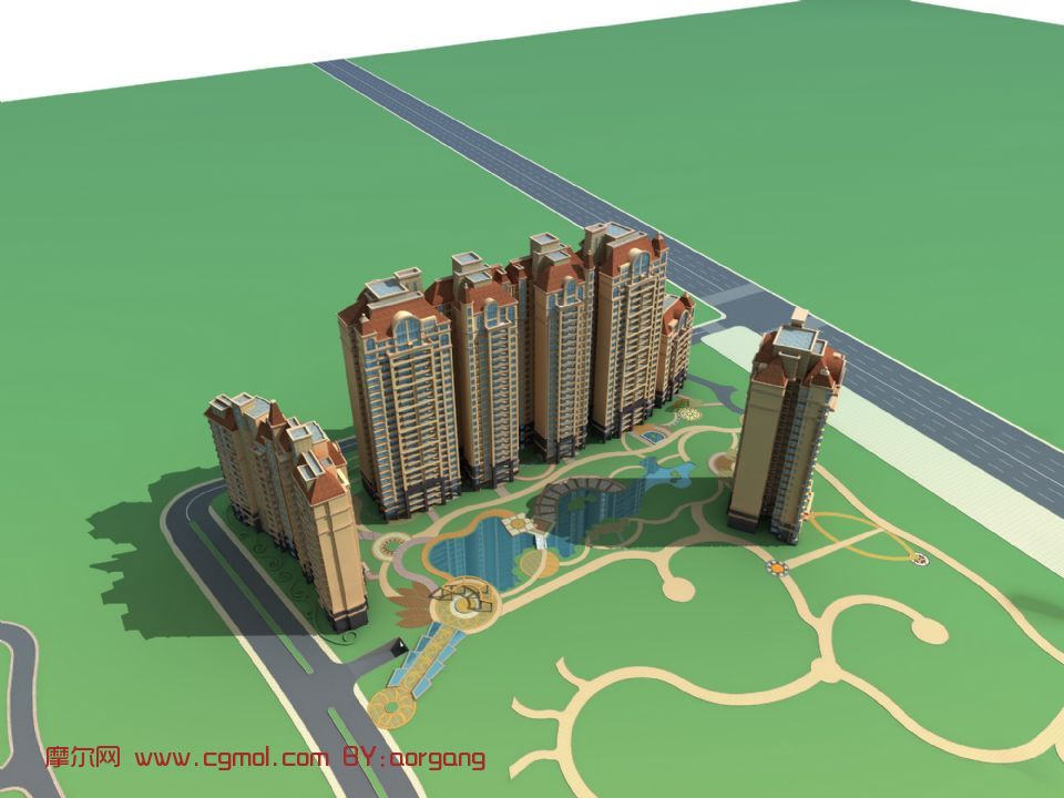 欧式住宅,房子,建筑,室外场景max3d模型
