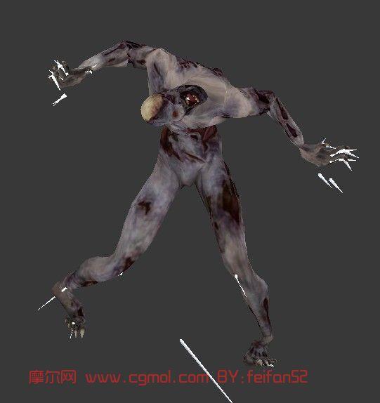 模型描述:僵尸模型,带骨骼绑定