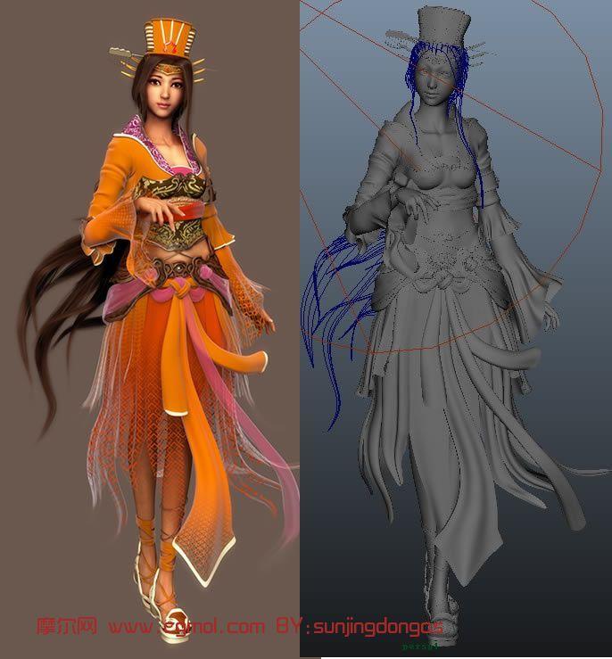 淑女,古代女子,卡通角色maya3d模型
