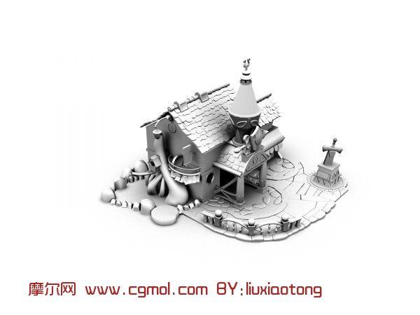 q版 房子 卡通 场景