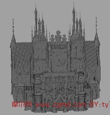 欧式城堡,建筑,室外场景maya3d模型