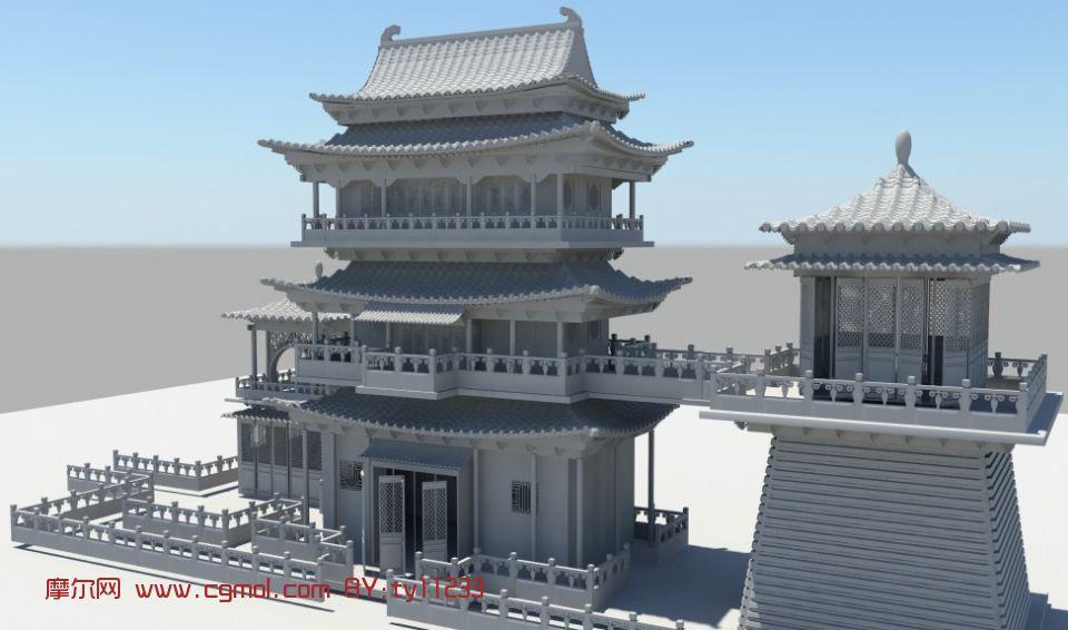 建筑模型 中式建筑  关键词:宫殿楼阁古代建筑庙宇塔亭子中式maya角楼