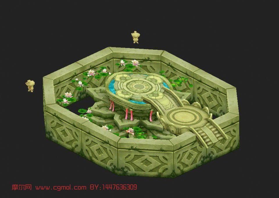 q版水池,游戏场景,室外场景max模型