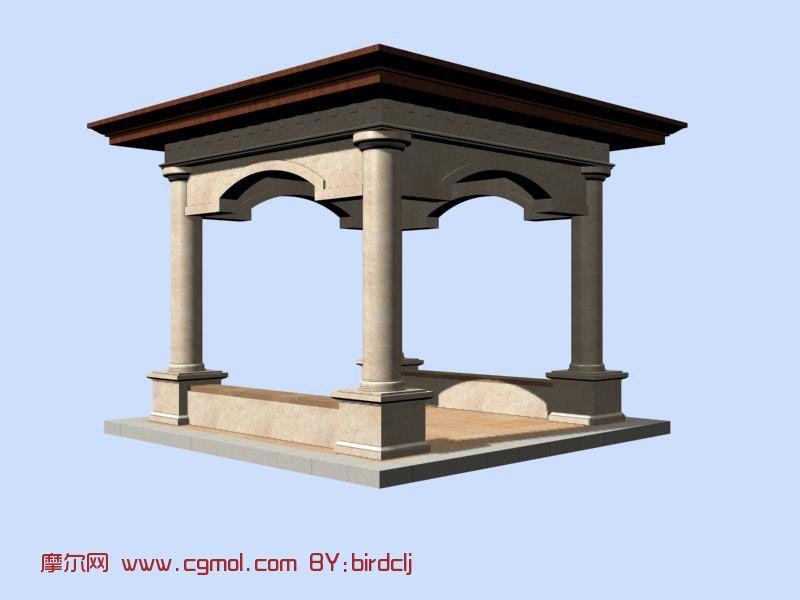 欧式四角亭,建筑,室外场景max模型