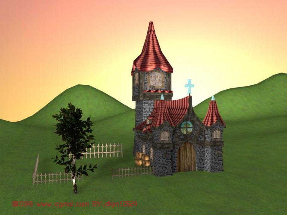 教堂,房子,建筑,室外场景maya模型