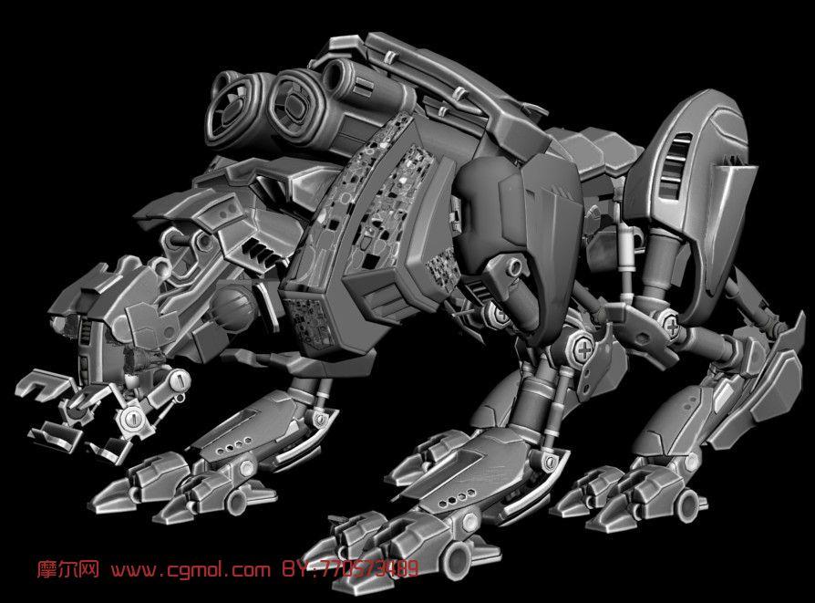 机械狗,未来战犬,科幻3d模型