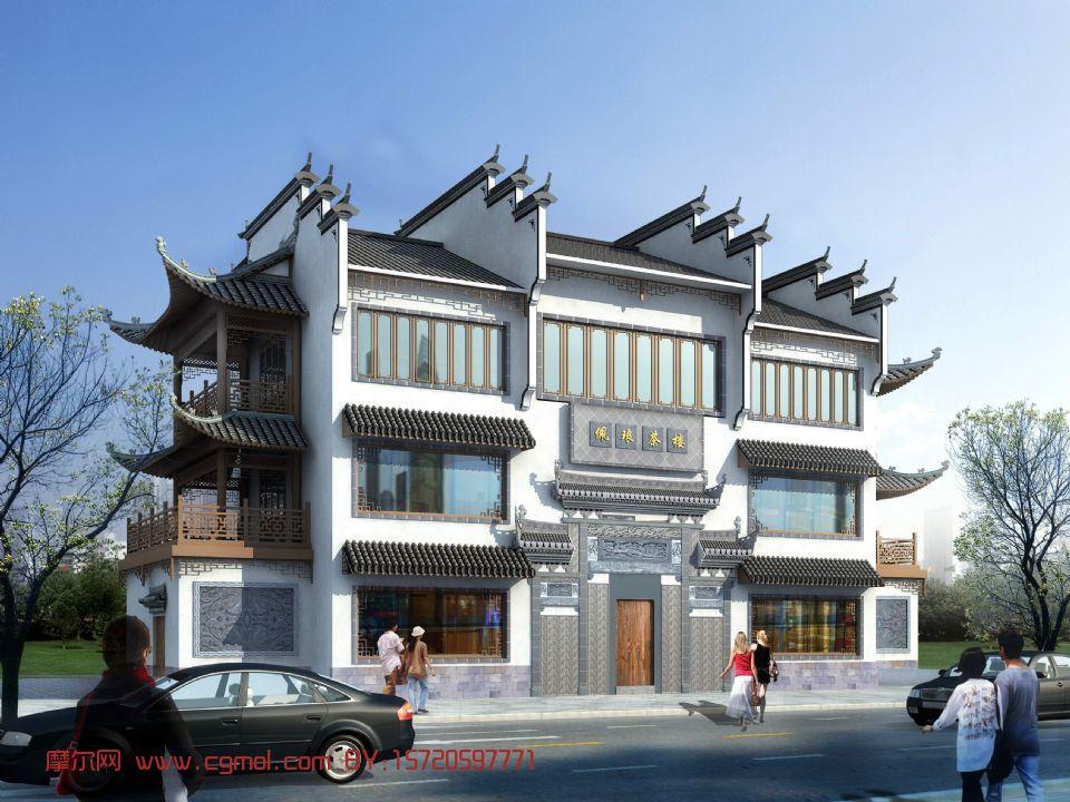 中式茶楼,建筑,室外场景3d模型图片