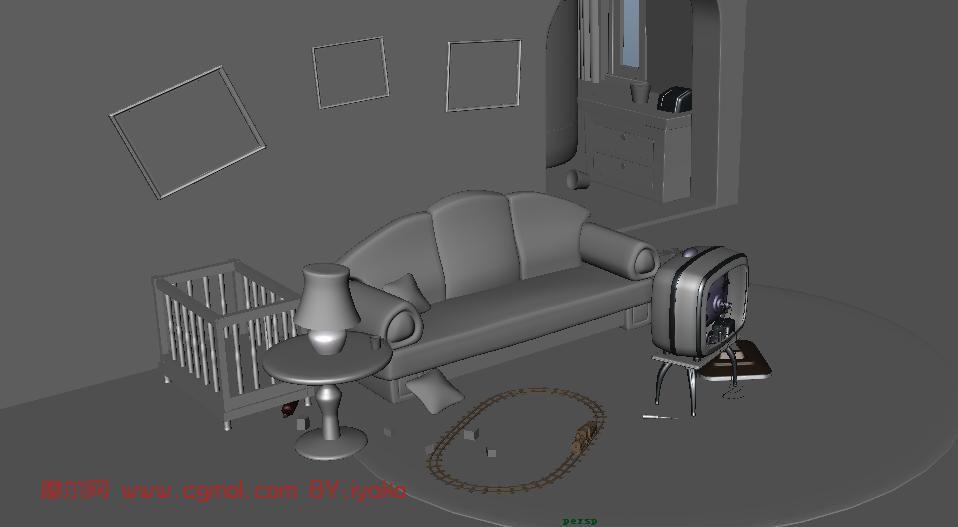 室内,卡通场景maya模型