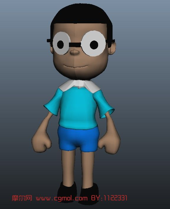 大雄,多啦A梦中的主角3D模型