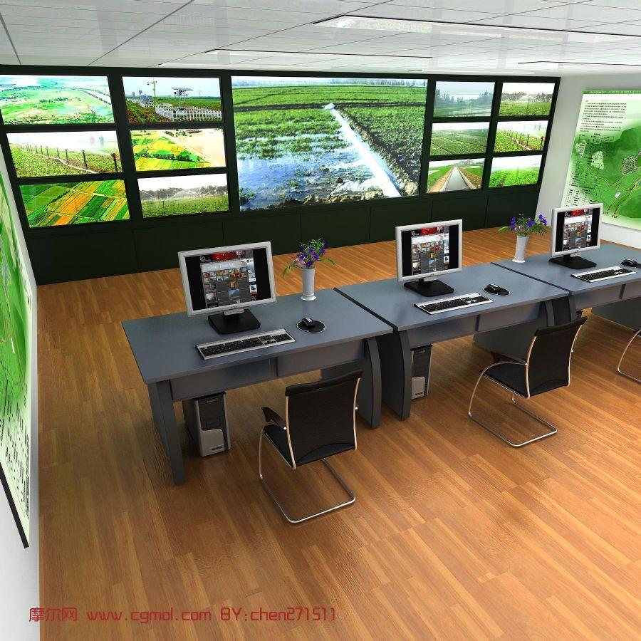 控制室,视频监控室,3D模型
