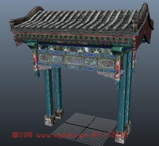 门,牌坊,村口古建筑3D模型