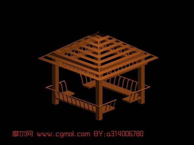 镂空木亭子3D模型