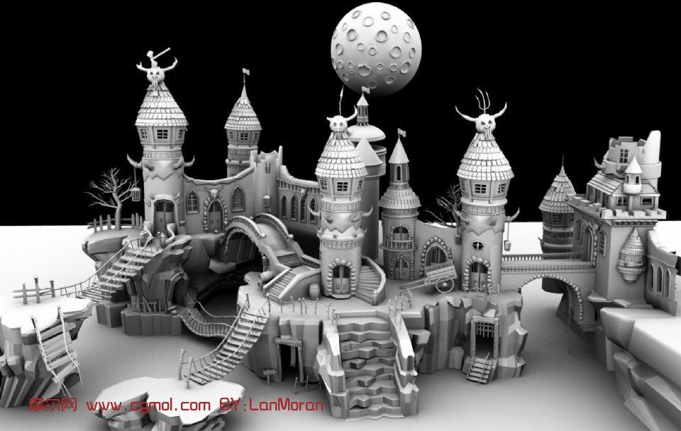 皮皮谷 卡通城堡场景maya模型 高清图片